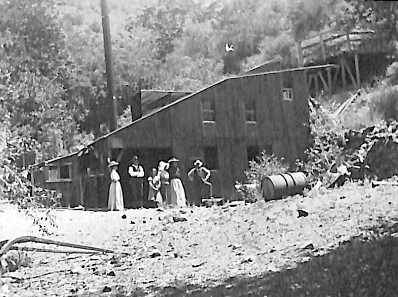 No photos seem to have been taken during the boom days in Silverado (Anaheim's only photographer set out to visit the mines, but his buggy rolled off the road, he broke his arm, and never returned). So the photos we do have all show later buildings and work. This photo from Jim Sleeper's papers at UC Irvine seems to be the oldest mill scene. He dated it around 1900, so it may be Marshal Dunlap's mill from the 1890s.