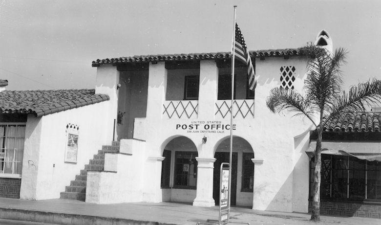 The San Juan Capistrano Post Office, ca 1949 (courtesy the Orange County Archives).