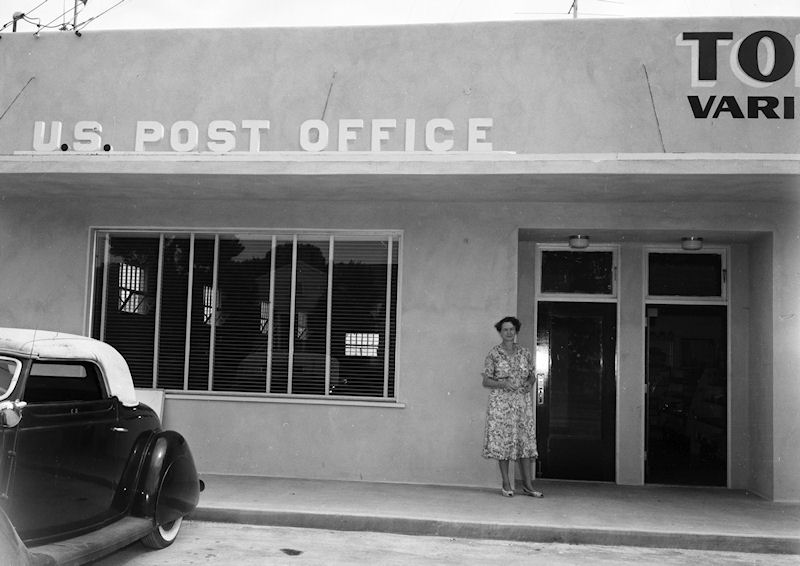 The Westminster Post Office, 1952; perhaps with postmaster La Verna Strawbridge in the doorway (courtesy the Orange County Archives).