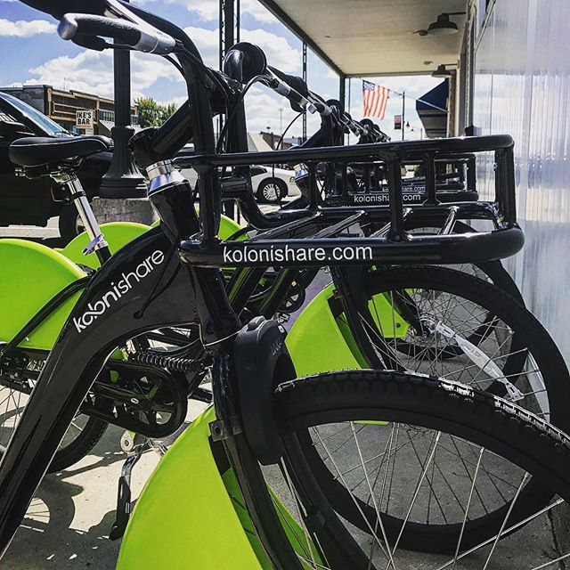 Koloni Bikes are getting placed at a new location this week.  Our front mounted bike lock allows us to seamlessly connect to our rack. #bikeshare #bikesharing #urbanmobility #tech #sustainability #rideshare