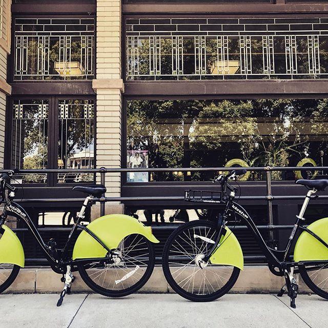 Outside the only Frank Lloyd Wright Hotel still in operation.  Mason City, Iowa - #rideshare #sustainability #urbanmobility #bikesharing #tech #ridelife