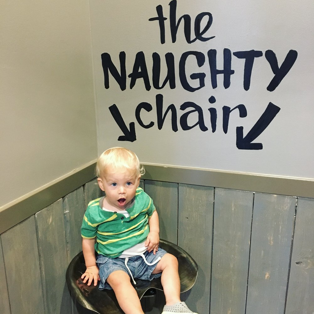 Caleb in the Naughty Chair at Spanky's Burger