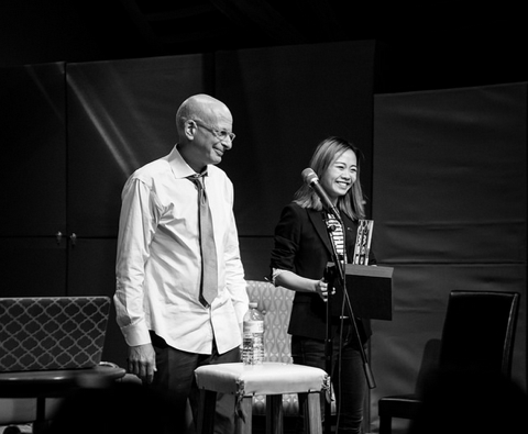 Receiving the Purple Cow Award from Seth Godin, September 2017.