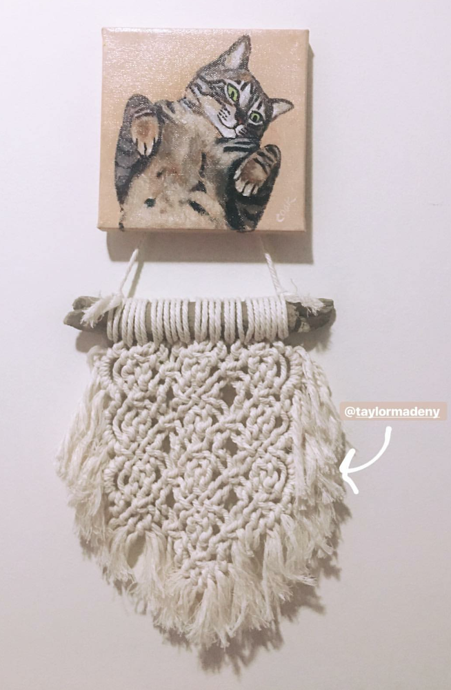 I always love seeing my pieces once they've been put up in their new homes. This is a piece I made for a good friend. She decided to display it next to her favorite painting of her little furbaby.