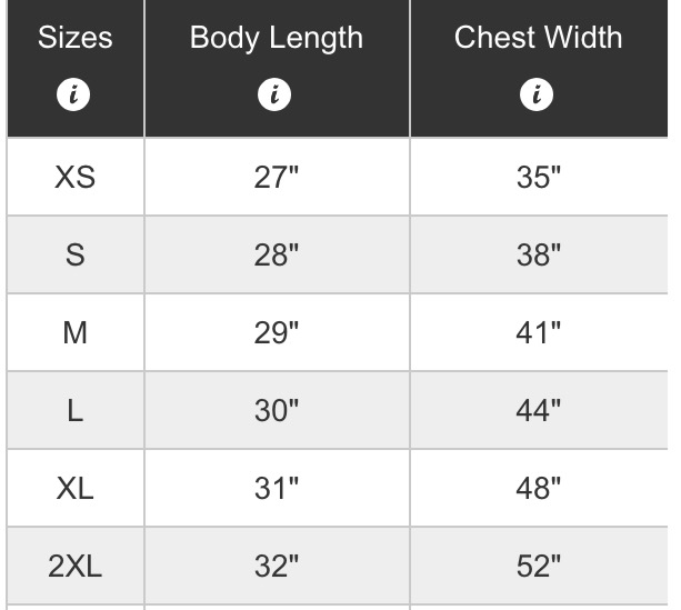 Size Chart One Round Jack