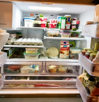 My fridge currently. I shop a few times a week so it's never overflowing. And my son loves cream cheese =)