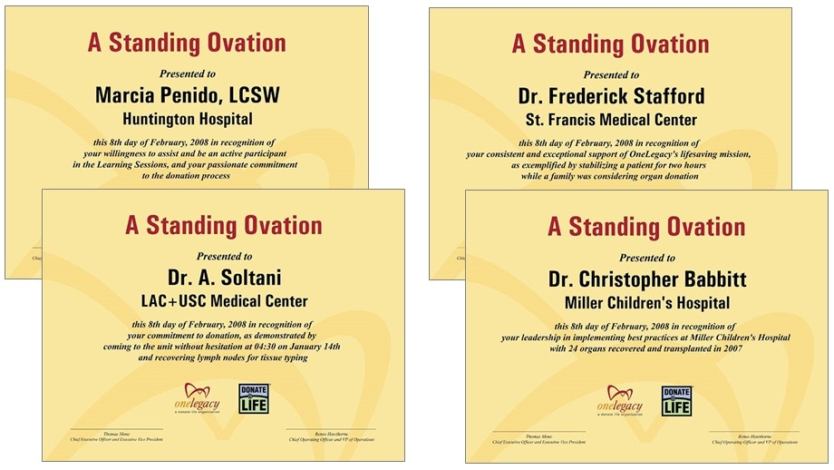 """Each quarter, extraordinary """"Bravo"""" narratives were elevated to """"A Standing Ovation,"""" with the signed and framed certificate formally presented in an optimal setting."""
