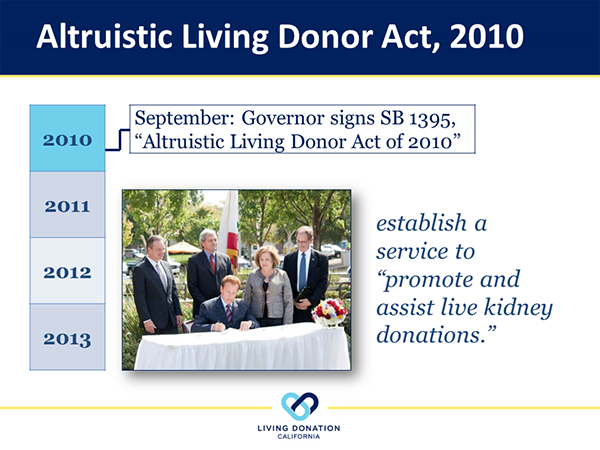 """Living Donation California was inspired by Gov. Schwarzenegger's desire to do something """"big and bold"""" to increase the availability of organs for transplant."""