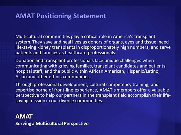 AMAT's positioning statement incorporated their public and professional constituents, their partners' challenges, the high stakes involved, the importance of service, and the strategic imperative to turn their perspective into product offerings.