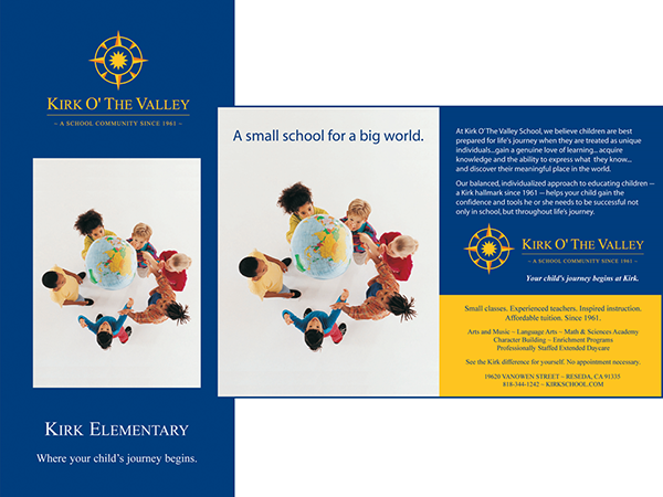 The brochure and print ads emphasized that the school valued diversity and preparing children for a lifelong journey into the world.
