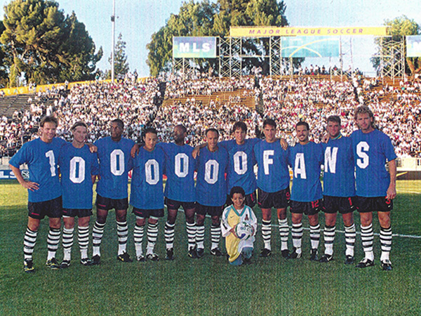 """Honorary """"One Millionth Fan"""" Falke Verwer was chosen as he entered the turnstiles with his parents. Minutes later, he joined his hometown San Jose Clash on the field during pregame introductions."""