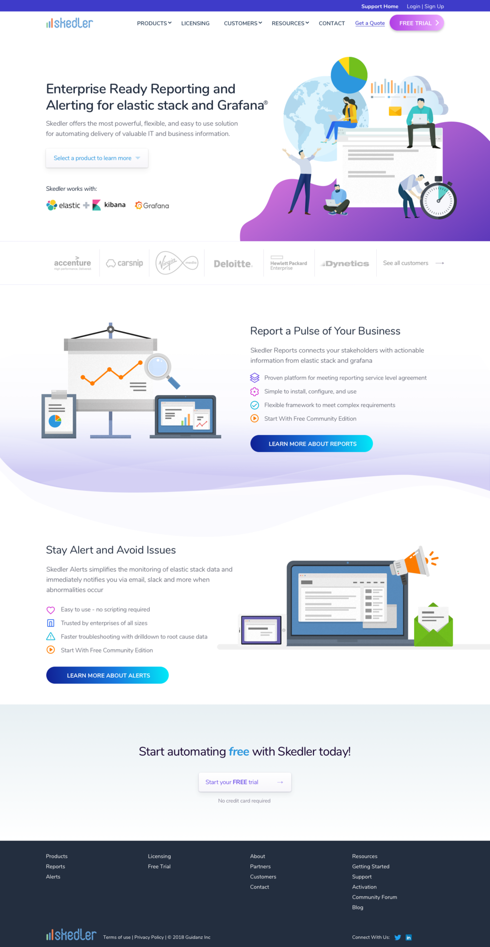 Homepage - The main navigation has been simplified with an emphasis on the free trial download button. The style of the illustrations has been carefully chosen based on the design direction. The summary of each product is displayed with inviting visuals to learn more.