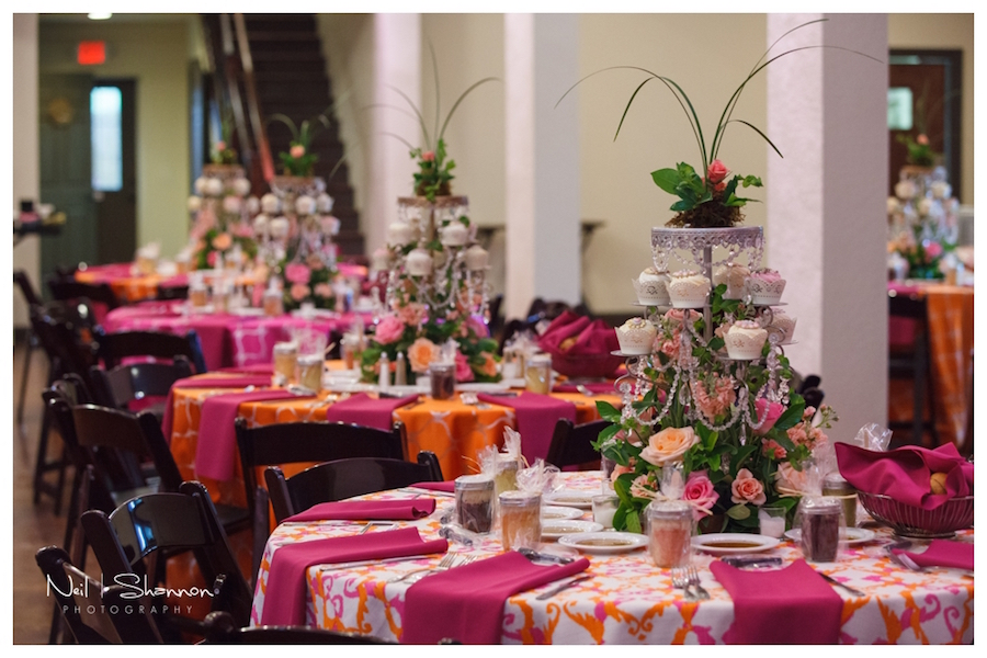Pink and Orange Linens with Cupcake Wedding Centerpieces by The Cake Zone | Rustic, Elegant Sarasota Wedding Venue | Bakers Ranch
