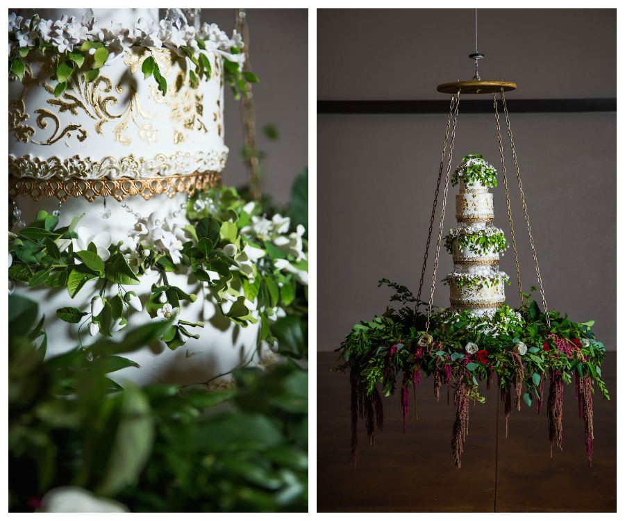 White and Gold Round Tampa BAy Wedding Cake with Greenery by The Cake Zone | Hanging Suspended from Ceiling