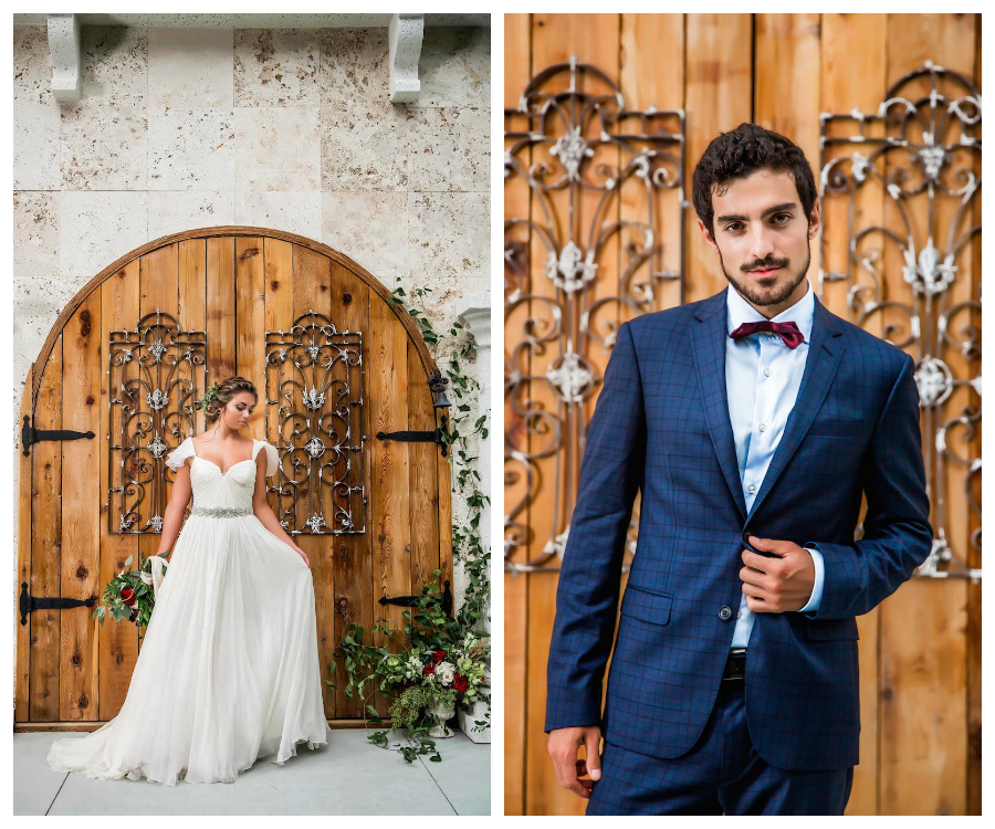 Amsale Wedding Dress from Blush Bridal Sarasota | Groom's Deep Burgundy Red Bow Tie and Blue Suit | Southern Wedding Inspiration at Tampa Bay Wedding Venue Bakers Ranch