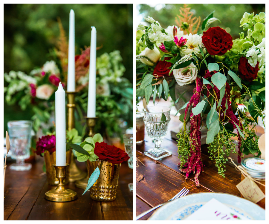 Burgundy Deep Red Wedding Centerpieces with Greenery on Wooden Farm Table | Southern Inspired Outdoor Wedding Reception Decor Styled Shoot