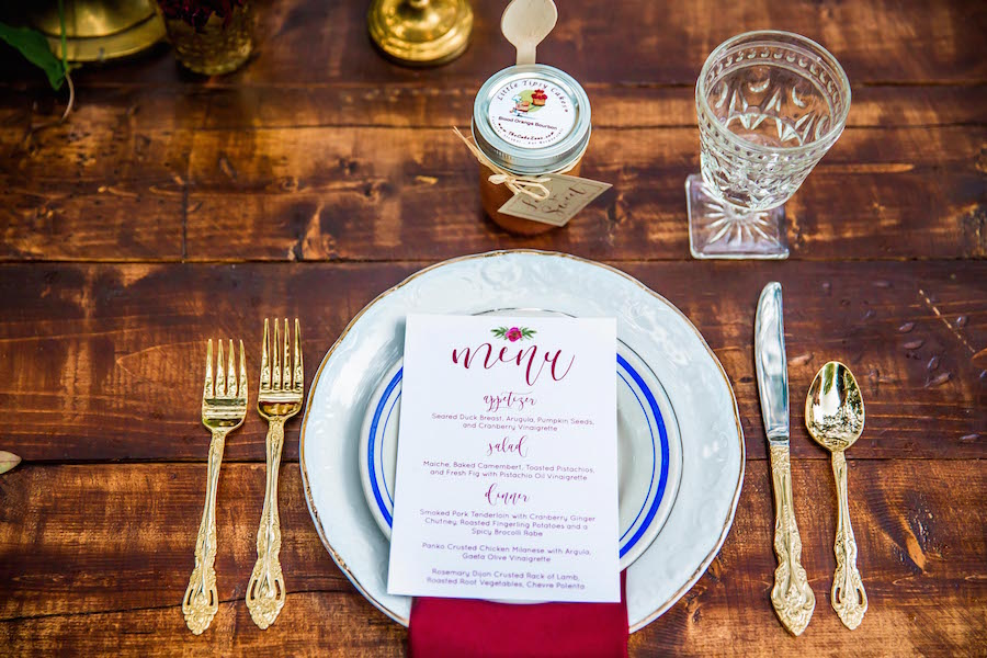 Vintage Tableware Place Setting with White China Chargers and Gold Silverware | | Southern Inspired Outdoor Wedding Reception Decor Styled Shoot
