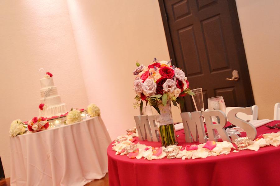 Pink Wedding Bouquet and White Wedding Cake by The Cake Zone | Sarasota Wedding Indoor Reception