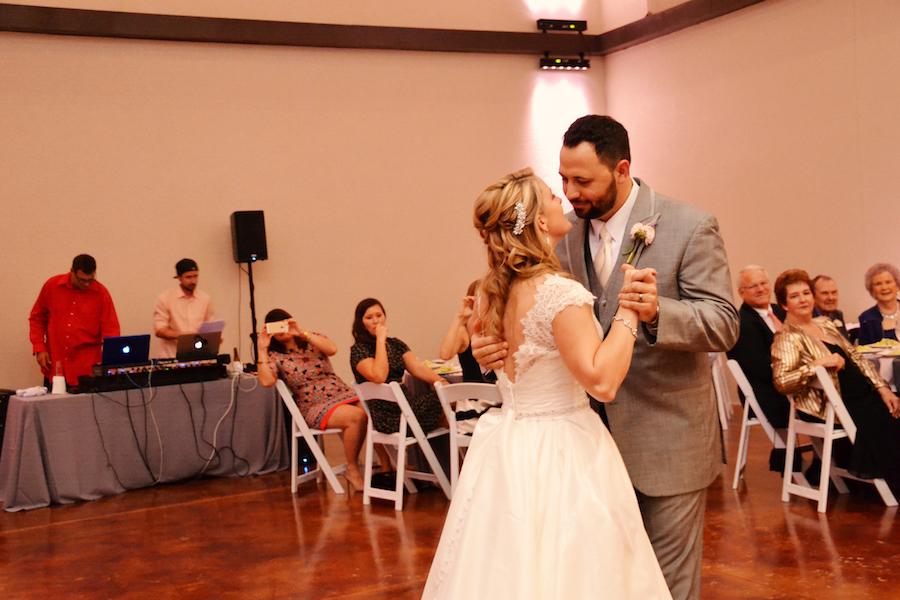 Bride and Groom First Dance | Sarasota Wedding Indoor Reception at Wedding Venue Bakers Ranch