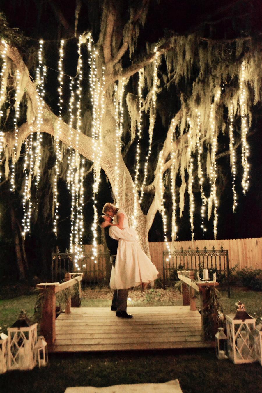 Sarasota Outdoor Bride and Groom Nighttime Portrait on Wedding Day | Sarasota Wedding Venue Bakers Ranch