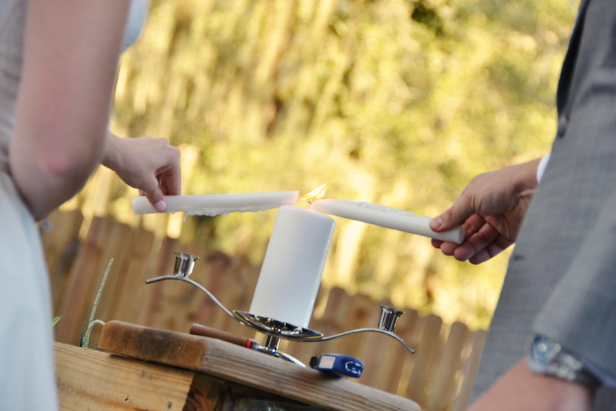 Rustic, Romantic Outdoor Wedding Ceremony Unity Candle at Sarasota Wedding Venue Bakers Ranch