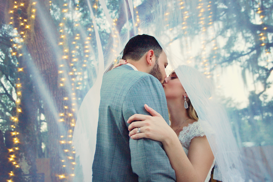 Sarasota Outdoor Bride and Groom Portrait on Wedding Day | Sarasota Wedding Venue Bakers Ranch