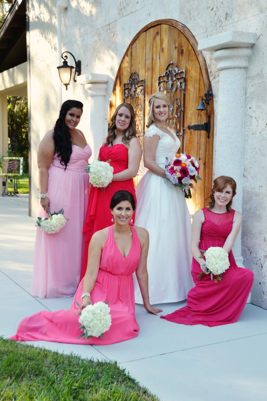 Pink Flowing Bridesmaids Dresses