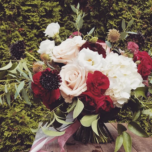 Beautiful blush & burgundy wedding flowers. #botanikal #gardenroses #bellinghamflorist