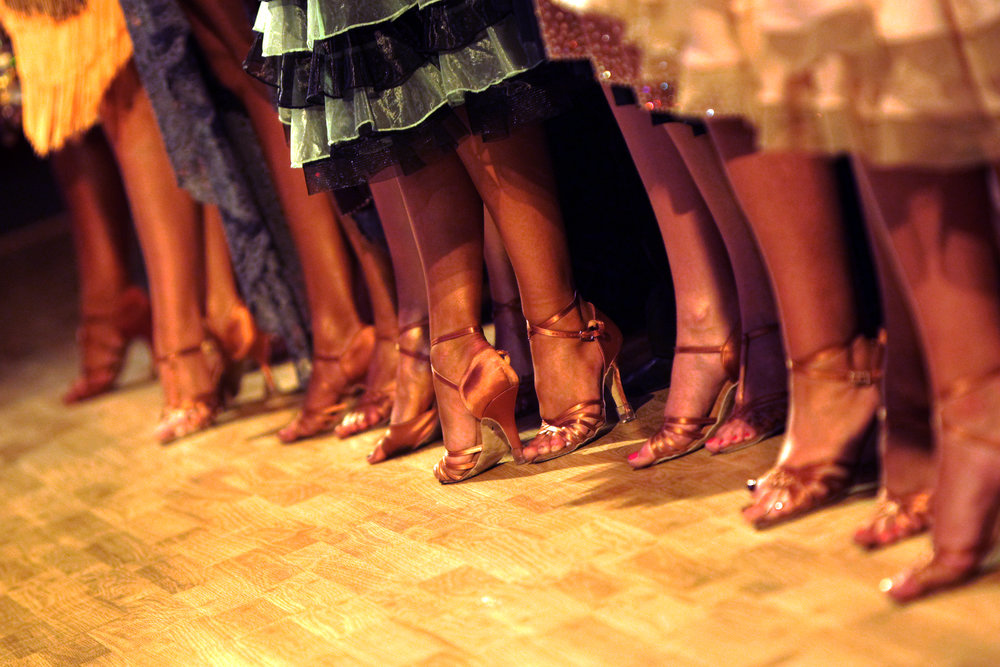 Group of latin dancers feet