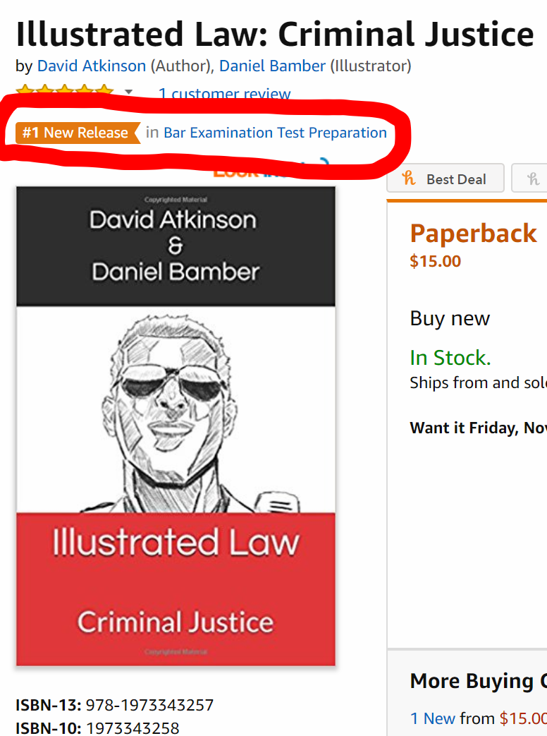 Screenshot from our first book in its first week on Amazon. Our Tort Concepts books was also a #1 New Release.