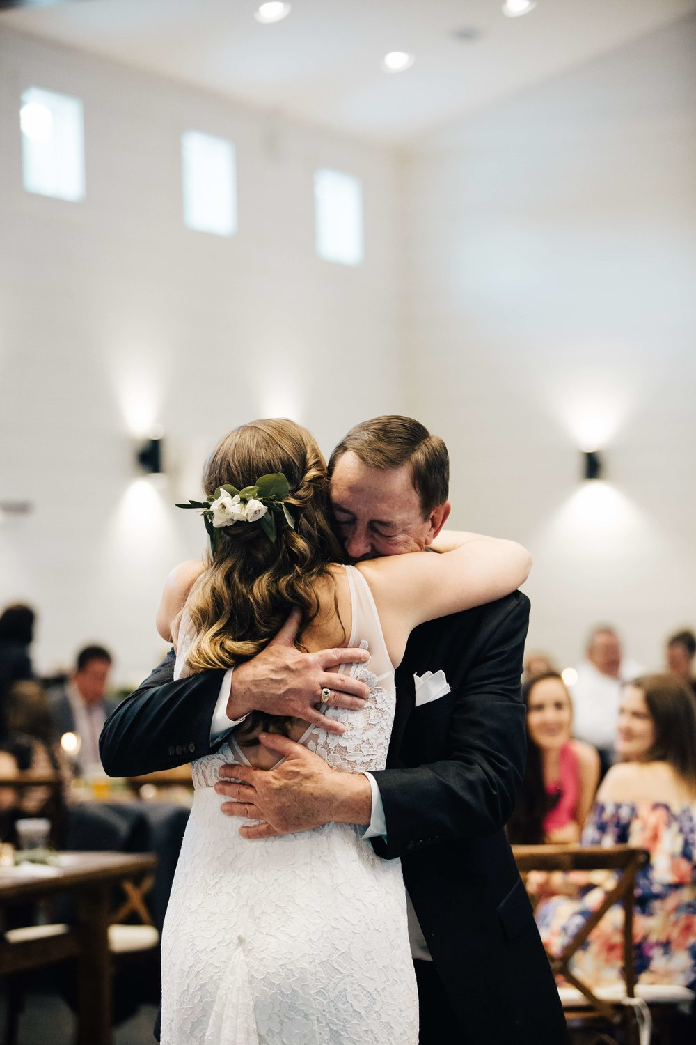 Father of the Bride and Bride hugging just after their Father Daughter Dance at Chestnut Ridge in Asheville, North Carolina, Music played by Benjamin T Warner DJ & Musician, Photography by Amanda Sutton Photography