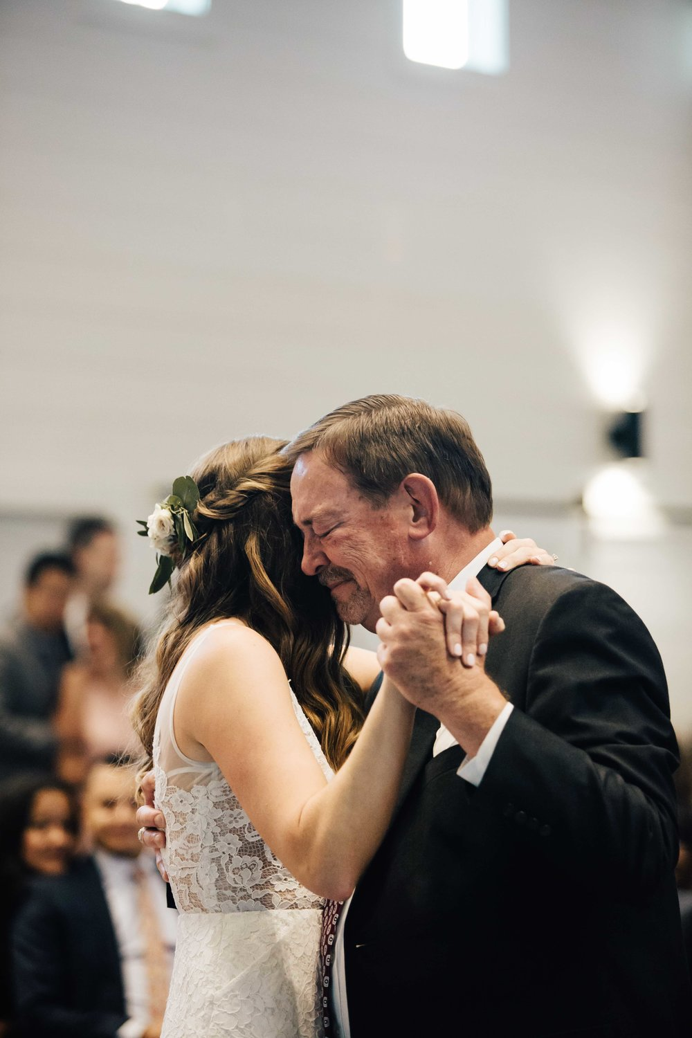 Beautiful photo of the Father of the Bride fighting tears during the Father Daughter Dance at Chestnut Ridge in Asheville, North Carolina, Music played by Benjamin T Warner DJ & Musician, Photography by Amanda Sutton Photography