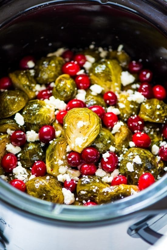 Slow Cooker Brussel Sprouts - Brussel sprouts, cranberries and feta add the right amount of creamy tartness to the dinner table