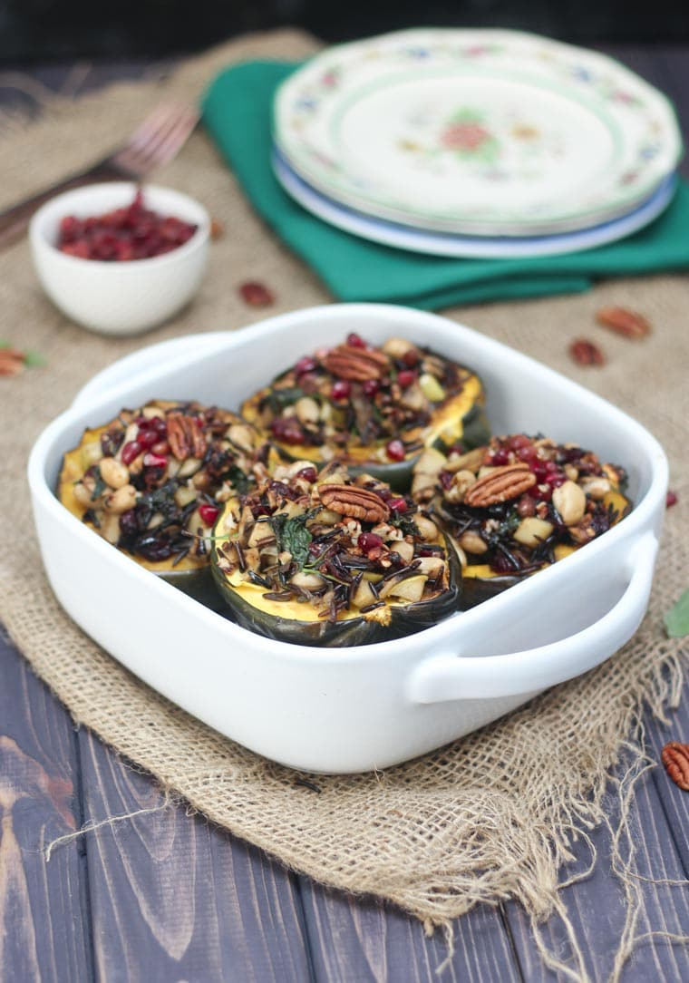 Stuffed Acorn Squash - Stuffed with apples, caramelized onions and wild rice