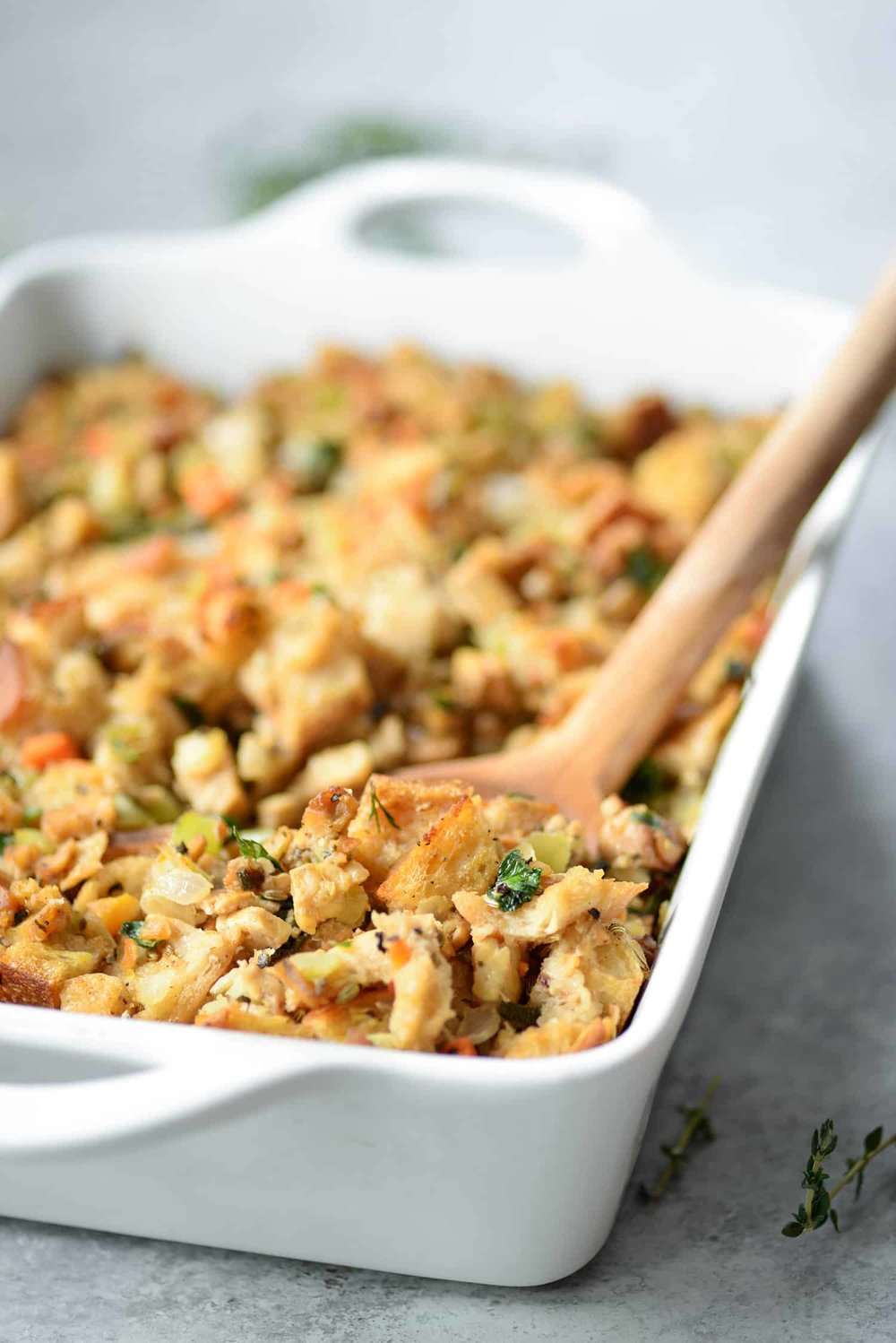 The Best Vegan Stuffing - Tempeh sausage and freshly baked sourdough stuffing