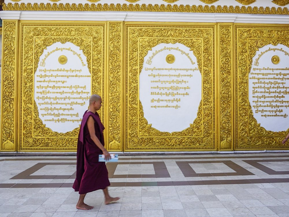 Monk at Shwedagon Pagoda.
