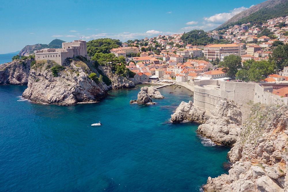 View of the city walls in Dubrovnik, Croatia