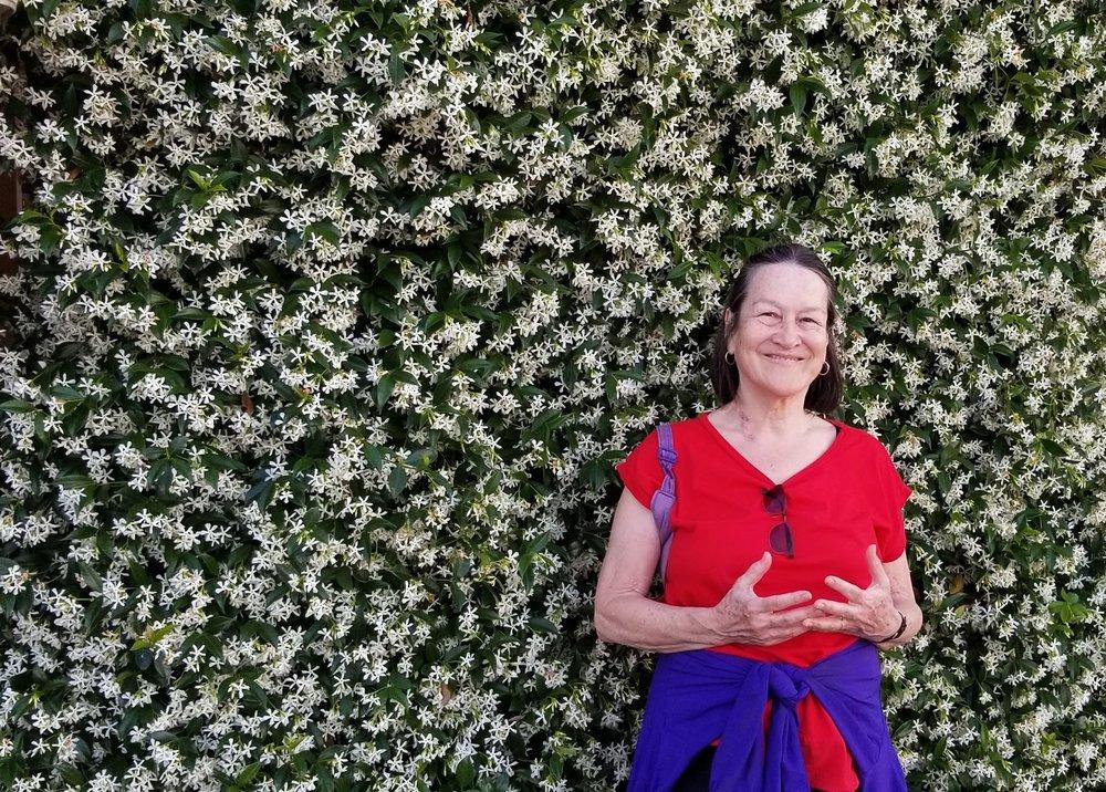Marline enjoys a wall of jasmine flowers.