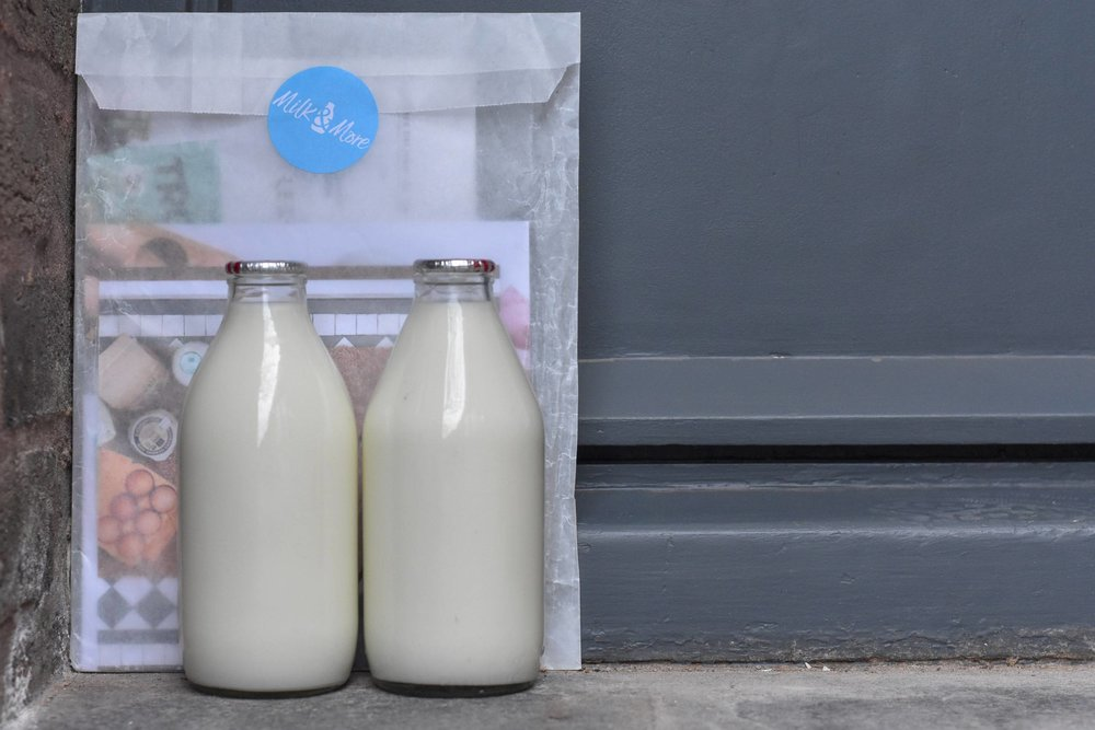 milk - This is both difficult and easy.Difficult, because I don't think you'll find milk in anything other than plastic in the supermarket.Easy, because you can get it delivered in glass by Milk & More. It's more expensive, for sure. But just think of all those plastic bottles that won't be on your watch.While you're at it, search by 'plastic alternatives' on the site, and you'll find there are lots of other good things that they can leave on your doorstep - juices, granola, yogurt - things that are tricky to get without plastic elsewhere.