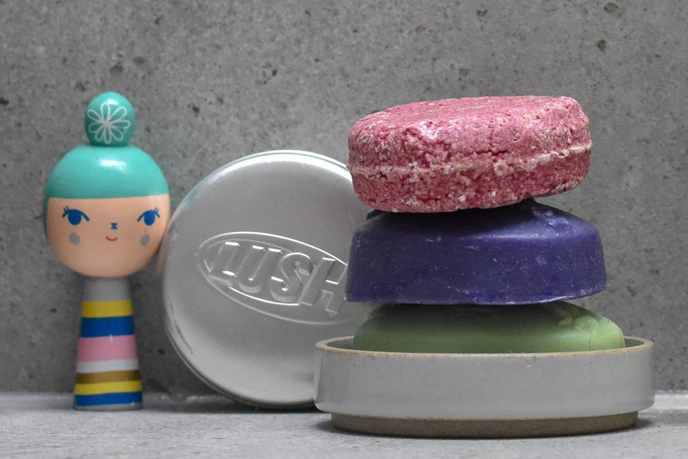 LUSH solid BARS - Solid shampoo and conditioners bars are the ultimate zero-waste heroes. Just like soap, but for hair.I'm pretty sure Lush can take at least some of the credit for how popular these are becoming. To my mind, they are the bar trailblazers. A store assistant told me a story about how the Lush NPD team apparently made a soap that foamed too much - waaaay more than normal - and a wise pixie suggested it might work for hair. And the rest, supposedly, is history.ANYWAY. There are now loads to choose from, whatever your hair type. Invest in the matching tins (or embrace a messy shower shelf). They last for ages and are mostly vegan. For an easy, high-street option, these are hard to beat.