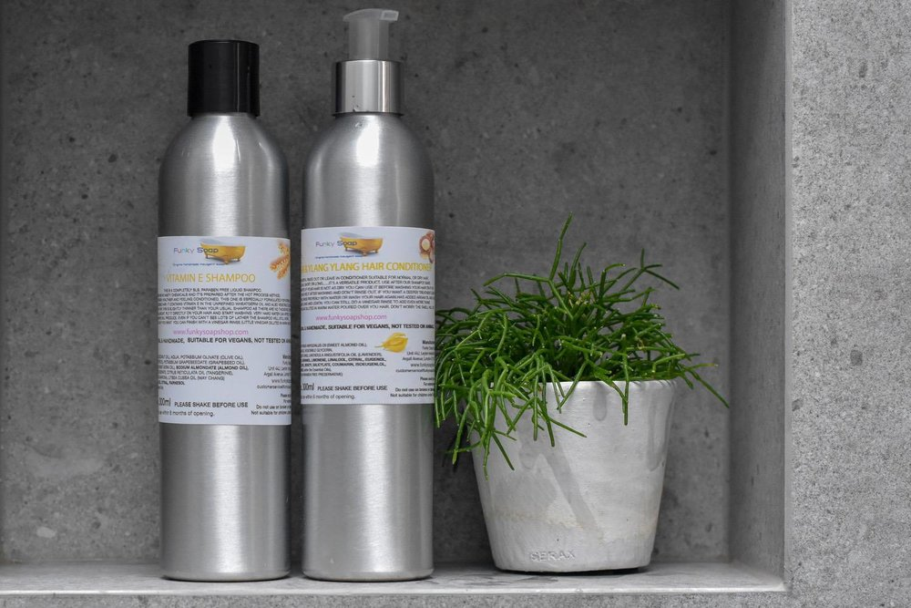 FUNKY SOAP REFILLABLES - I think (hope) this is going to be the future of all toiletries.Funky Soap Shop offer a range of shampoos and conditioners in refillable stainless steel bottles (as well as solid bars).You just post the empties back (at your cost) and they'll refill and return them (at theirs).If you're ever in North East London, they also have a 'factory shop' that you can visit in person.These are all really good value too.