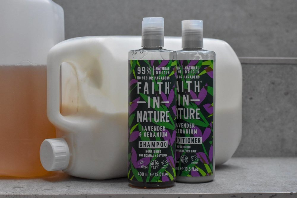 BULK refills - If the craze for bars is not your thing, you can stick to more traditional shampoos and conditioners, and find a way to have the bottles refilled.Faith in Nature and Suma products are often available in 'green'/bulk stores where you can BYO bottles and fill up as and when you need to.Or, if you've got space to store a biggie yourself, both brands sell in 5 litre mega sizes. Versus buying the equivalent twelve 400ml bottles, this saves money AND a lot of plastic waste.I've also heard of folk having bottles refilled by their hairdresser - it's definitely worth an ask!