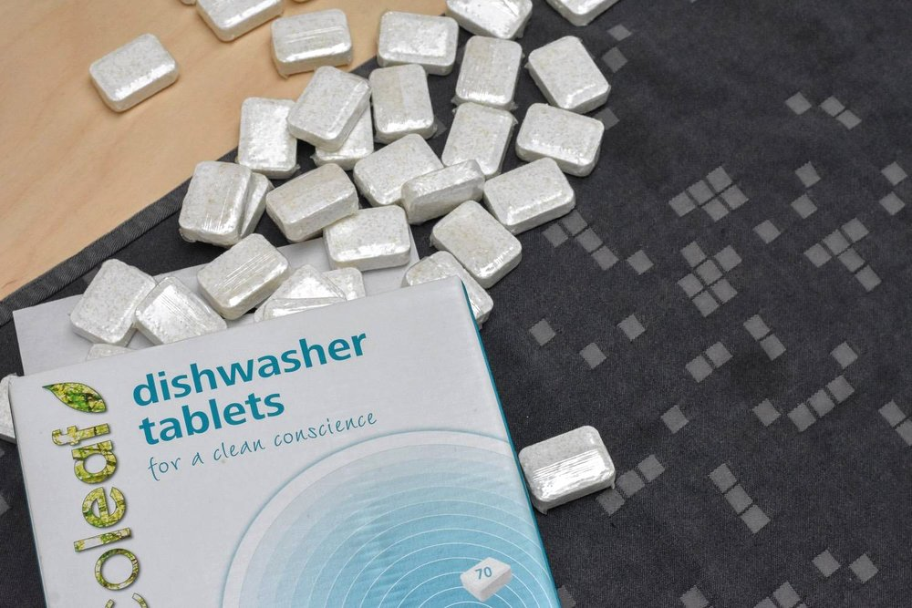 dishwasher tabs - Is it just me, or do you curse those individual wrappers on dishwasher tablets? Even the most eco-brands do this. It's just dumb.I've tried a few things with dishwashing - I even attempted making my own dishwashing tabs (not recommended).Happily I've found these little wonders from Ecoleaf. Ecoleaf is a Suma owned brand, which means they are made by one of the most ethical brands out there. And, OMG, they actually really work. Don't be put off by the shiny wrappers in the pic - this is a totally biodegradable, ocean-safe film that dissolves in the dishwasher. Genuinely better than any other brand I've ever used. Fact.