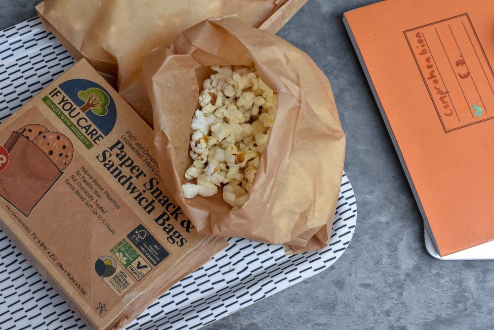 compostable bags - Whilst we try to stick to reusables, we do have a stash of these which get a lot of love in our house.My children get packed off to school with a bag of popcorn for after-school-snacks, like 1970's throw-backs. We also use them as packed-lunch sandwiches bags and playdate treat bags.The whole range of products by If You Care are worth exploring. I also like the compostable baking paper, recycled aluminium foil and the compostable cup-cake liners.
