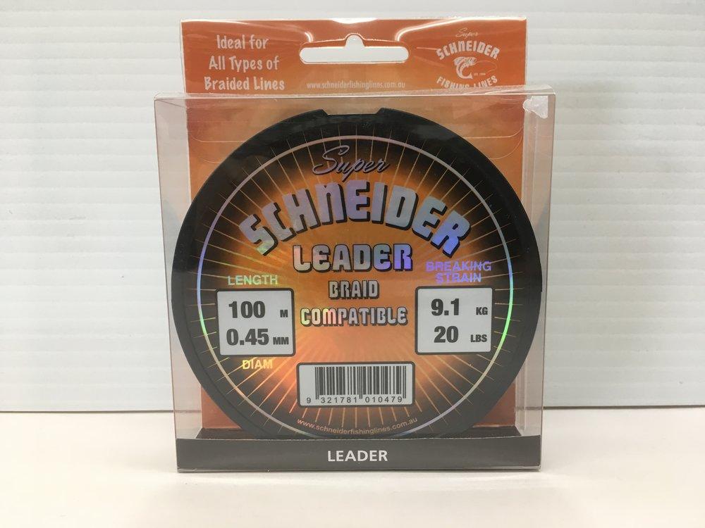 Super Schneider Leader, Braid compatible, available in 20lb, 30lb, 45lb, 55lb, 70lb - 100m
