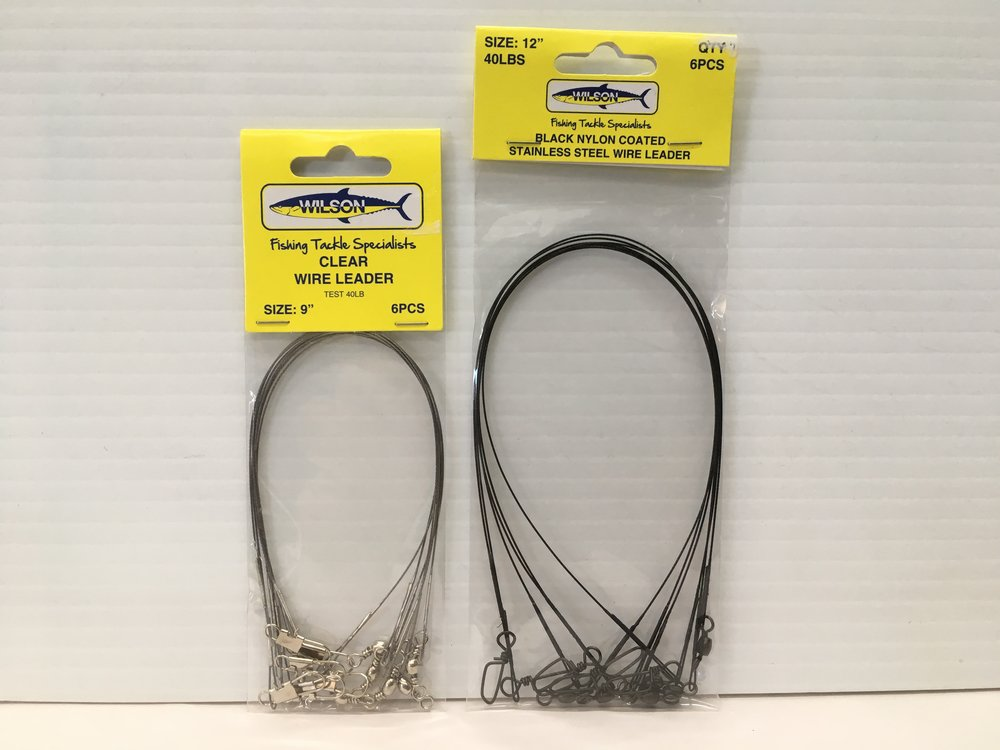 """Wilson Clear Wire leader 9"""" x 40lb x 6 AND Wilson Black Coated wire leader 12"""" x 40lb x 6"""