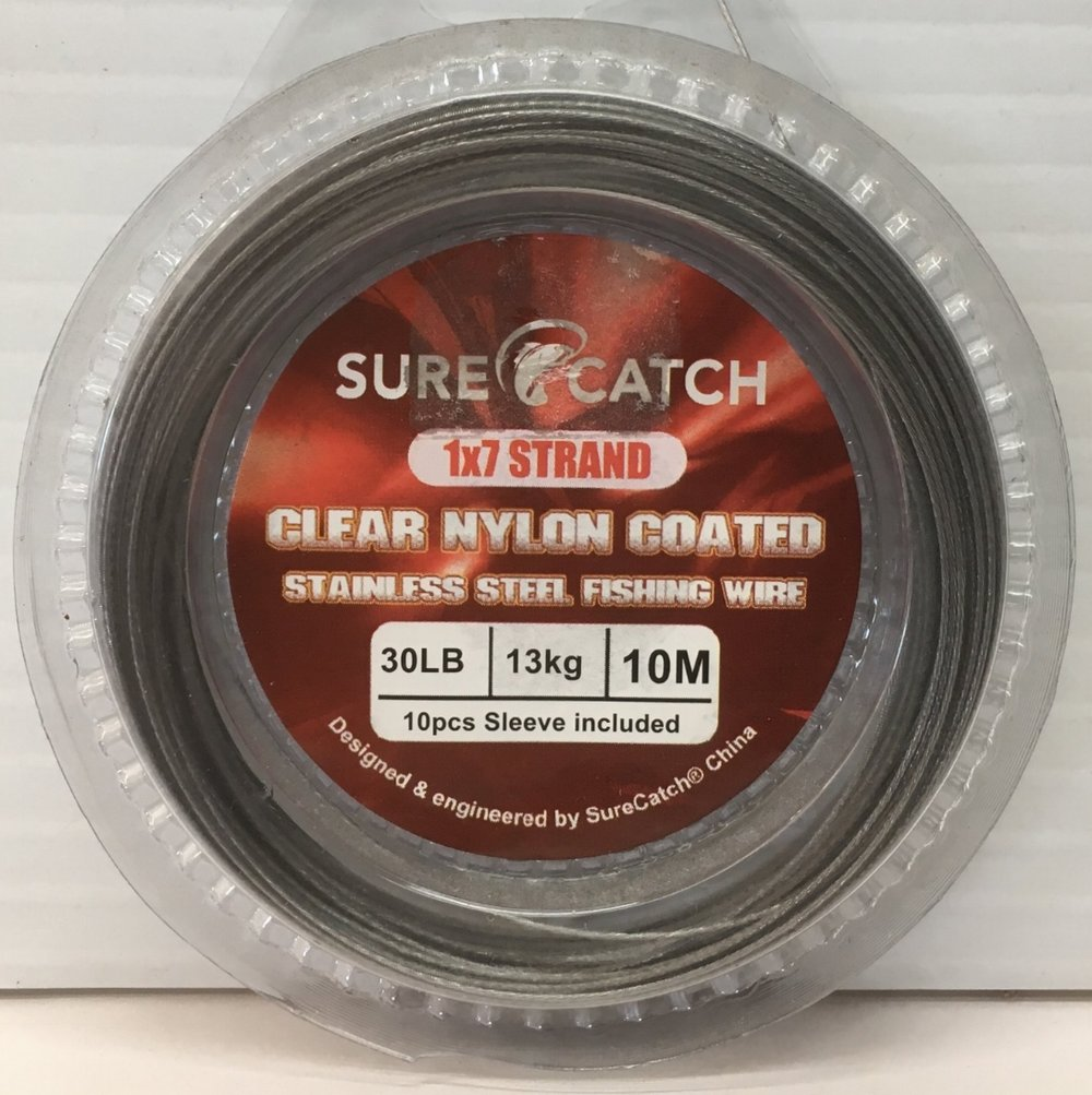 Sure Catch 1x7 strand Nylon coated stainless steel wire available in 30lb, 40lb, 60lb - 10m