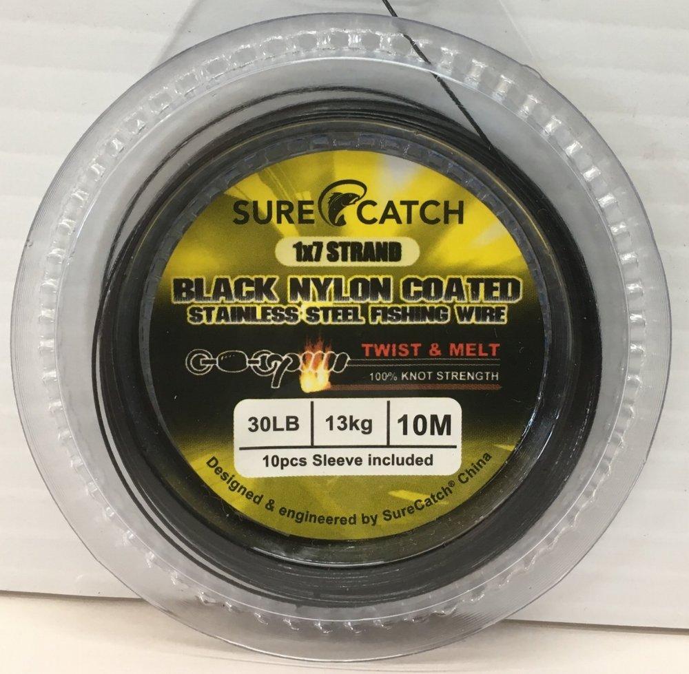 Sure Catch 1x7 strand Twist Melt black nylon wire available in 30lb, 40lb, 50lb - 10m