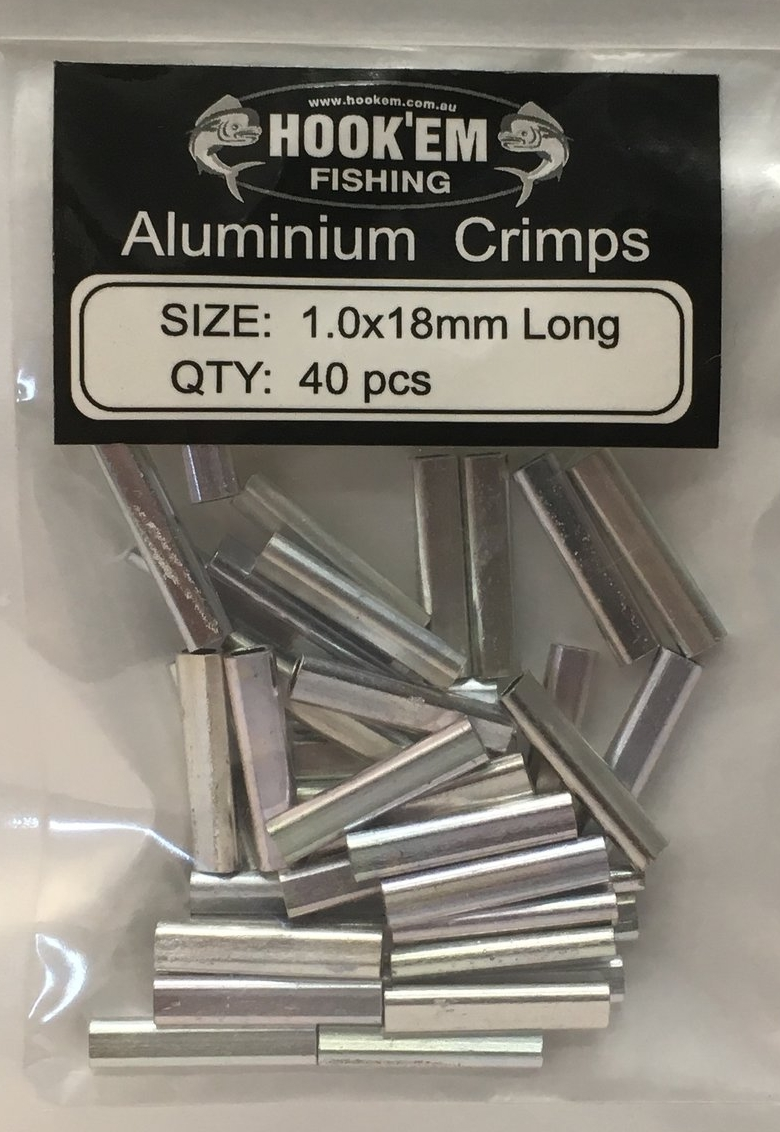 Hook'Em Aluminium Crimps available in 1.0 x 18mm x 40pcs - 1.2 x 18mm x 40pcs - 1.4 x 18mm x 40pcs - 1.6x 18mm x 40pcs