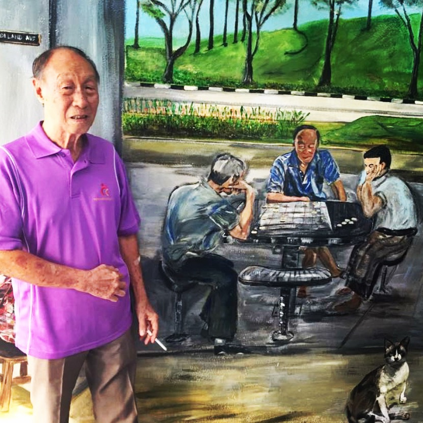 Has anyone seen my twin brother? This is Uncle Wah whom I immortalised on the wall. He was playing chess one morning and I quickly took a picture and painted him on the same day.